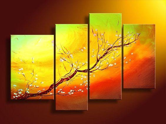 Branch of Plum Tree Flower, 4 Piece Canvas Art, Painting for Sale, Bedroom Canvas Painting - Art Painting Canvas