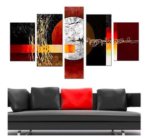 5 Piece Canvas Art, Red and Black Abstract Painting, Extra Large Art Painting - Art Painting Canvas