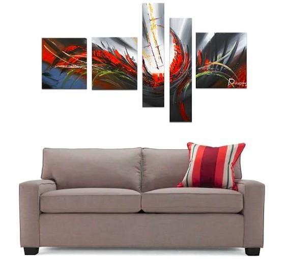 Abstract Lines, Canvas Painting, Acrylic Art, 5 Piece Wall Painting, Canvas Painting - Art Painting Canvas