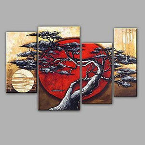 4 Piece Canvas Art, Abstract Art, Moon and Tree Painting, Large Painting for Sale, Contemporary Art