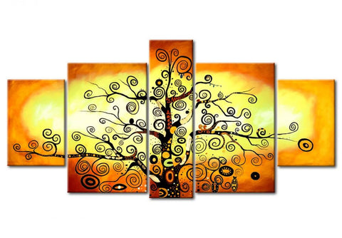 5 Piece Canvas Art, Tree of Life Painting, Abstract Painting, Extra Large Art Painting