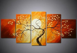 Flower Tree under Moon Painting, 5 Piece Canvas Art, Abstract Painting, Bedroom Canvas Painting