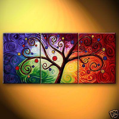 Canvas Painting, 3 Piece Canvas Art, Tree of Life Painting, Group Painting Set - Art Painting Canvas