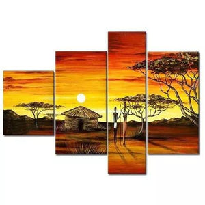 Abstract Art, 4 Piece Canvas Art, Oil Painting for Sale, African Woman Village Sunset Painting - Art Painting Canvas