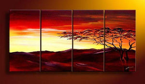 Landscape Art, Sunset Tree Painting, Extra Large Wall Art, Painting for Sale