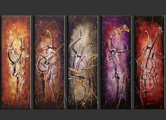 5 Piece Canvas Art, Musician Painting, Music Painting, Extra Large Canvas Art, Canvas Painting - Art Painting Canvas