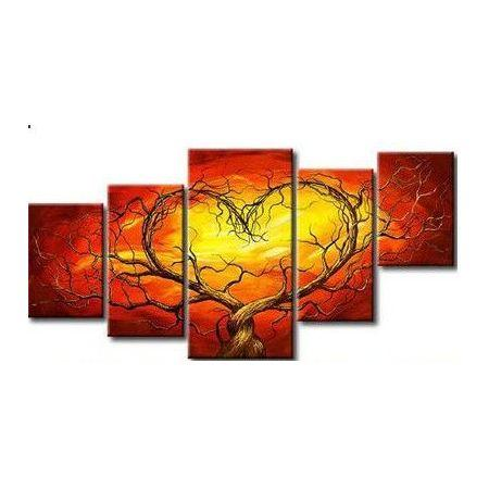 5 Piece Canvas Art, Tree of Life Painting, Abstract Art of Love, Extra Large Art Painting