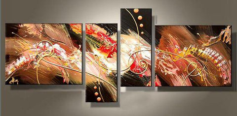 Abstract Acrylic Painting, 4 Piece Painting, Paintings for Living Room, Modern Wall Art Paintings-Grace Painting Crafts