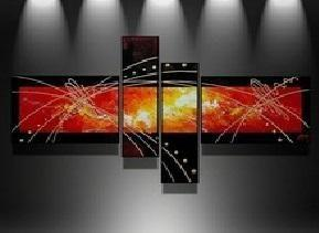Black and Red Canvas Art Painting, Abstract Acrylic Art, 4 Piece Wall Art, Buy Painting Online - Art Painting Canvas