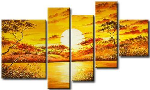 African Big Tree Painting, Living Room Room Wall Art, 5 Piece Canvas Painting, Abstract Painting