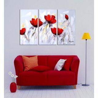 Bedroom Wall Art Painting, Acrylic Flower Paintings, Red Flower Painting, Abstract Flower Artwork-Grace Painting Crafts