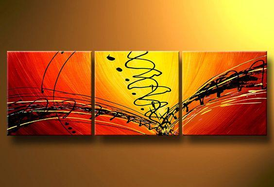Large Oil Painting, Abstract Lines Painting, 3 Piece Art Set, Extra Large Painting