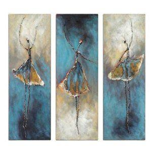 Ballet Dancers Painting, Canvas Painting, Abstract Painting, Acrylic Art, 3 Piece Wall Art