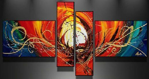 Red Canvas Art Painting, Abstract Acrylic Art, 4 Piece Abstract Art, Buy Painting Online