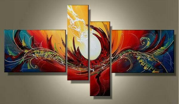 Red Abstract Painting, Large Acrylic Art, 4 Piece Abstract Art, Buy Painting Online