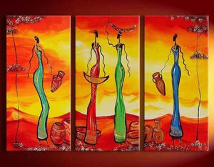 Abstract Painting, African Girl Acrylic Painting, Dining Room Wall Art, 3 Piece Art Painting