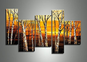 Landscape Painting, Birch Tree Painting, Acrylic Painting Landscape, Living Room Wall Art Paintings-Grace Painting Crafts