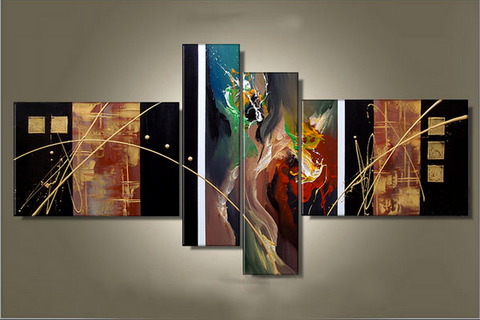 Canvas Art Painting, Large Wall Art, Abstract Painting, Acrylic Artwork, 4 Piece Wall Art, Hand Painted Art, Group Painting - Art Painting Canvas