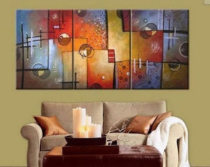 Group Art, Large Oil Painting, Abstract Oil Painting, Living Room Art, Modern Art, 3 Piece Wall Art, Abstract Painting
