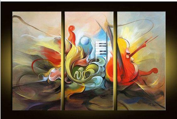 Abstract Painting on Canvas, Music Painting, 3 Piece Painting, Modern Acrylic Paintings, Wall Art Paintings-Grace Painting Crafts