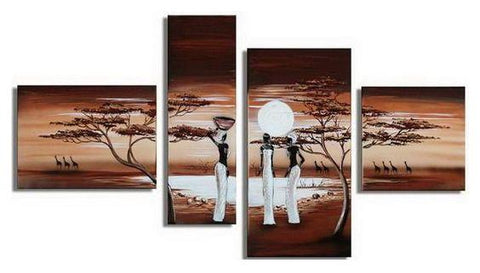 African Sunset Painting, African Painting, Living Room Wall Art, Canvas Art Painting - Art Painting Canvas