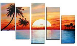 5 Piece Canvas Art, Beach Palm Tree Sunset Painting, Extra Large Canvas Art, Canvas Painting - Art Painting Canvas