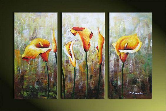 Modern Wall Art Painting, Calla Lily Flower Paintings, Acrylic Flower Art, Flower Painting Abstract-Grace Painting Crafts