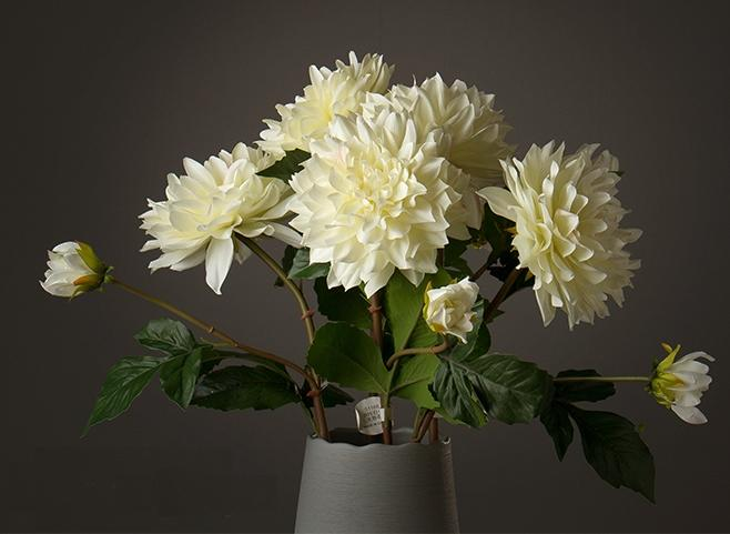 Artificial white Silk Dahlia Flowers, Silk Flower Arrangement, Faux Flower Bouquet