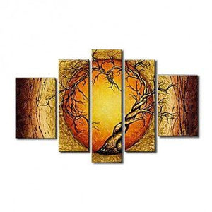 Extra Large Wall Art Set, Abstract Art Painting, 5 Piece Canvas Art, Moon and Tree of Life Painting