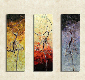 Abstract Painting, Ballet Dancer Painting, Bedroom Wall Art, Canvas Painting, Acrylic Art, 3 Piece Wall Art