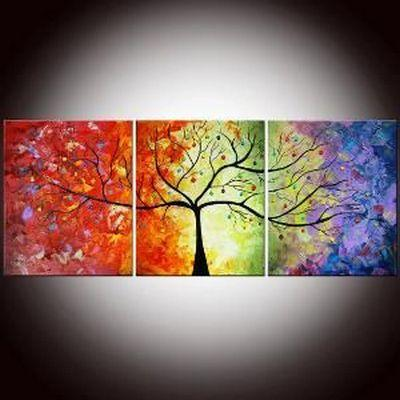 Abstract Art, 3 Piece Canvas Art, Tree of Life Painting, Canvas Painting, Group Painting Set