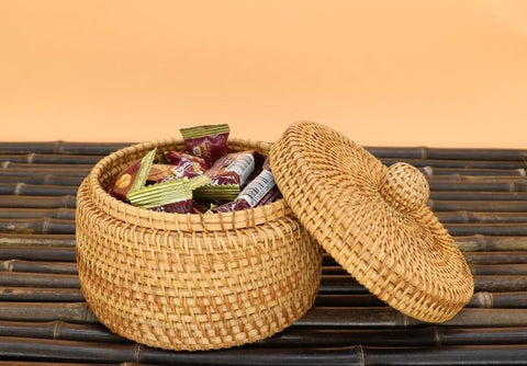 Handmade Storage Basket, Rustic Basket, Woven Basket with Cover, Home Decor