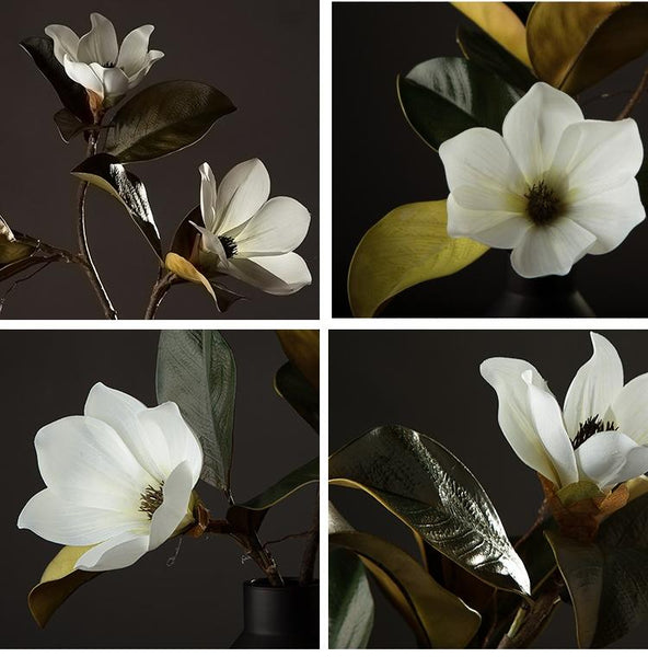 Large White Magnolias Artificial Flowers, Artificial Botany Plants, Magnolia Flower, Silk Flower Arrangement