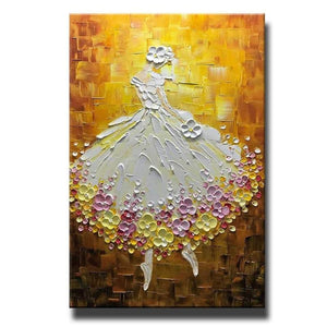Ballet Dancer Painting, Acrylic Painting Abstract, Modern Paintings, Contemporary Art, Texture Artwork-Grace Painting Crafts