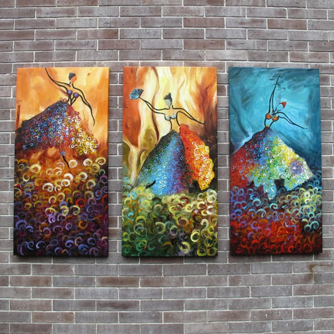Ballet Dancers Painting, Pretty Woman Painting, Abstract Canvas Painting, Living Room Wall Art, 3 Piece Art Painting - Art Painting Canvas