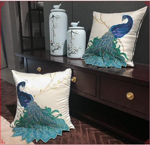 Beautiful Decorative Throw Pillow, Embroider Peacock Cotton and linen Pillow Cover, Sofa Pillows, Home Decor - Art Painting Canvas