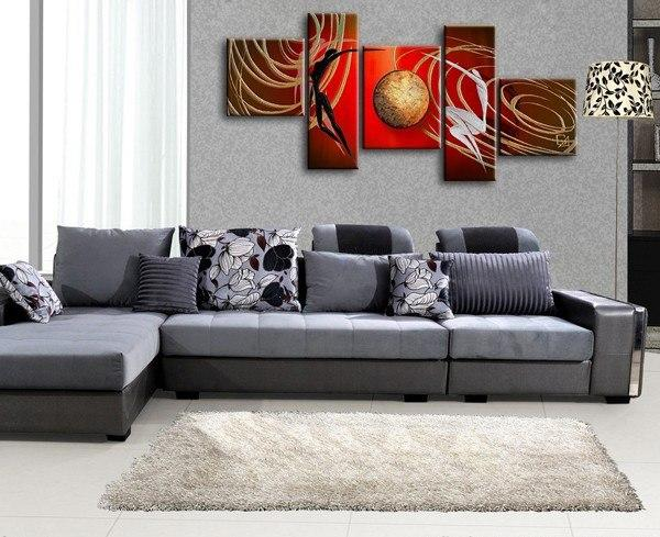 Abstract Art of Love, Love Abstract Painting, Bedroom Room Wall Art, 5 Piece Canvas Painting