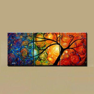 Canvas Painting, Abstract Art Painting, 3 Piece Canvas Art, Tree of Life Painting, Large Group Painting - Art Painting Canvas