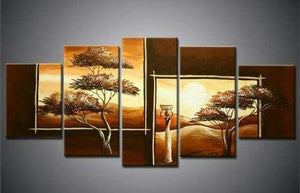 Tree of Life Painting, 5 Piece Acrylic Art, Abstract Painting, Bedroom Canvas Painting