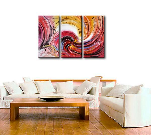 Colorful Lines Painting, Abstract Canvas Painting, Dining Room Wall Art, 3 Piece Art Painting