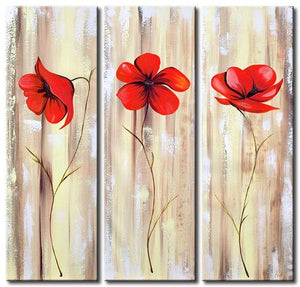 Red Flower Painting, Acrylic Flower Paintings, Acrylic Wall Art Painting, Modern Contemporary Paintings-Grace Painting Crafts