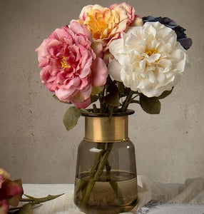 Rose Flower Arrangement, Silk Flower Centerpiece, Artificial Flower Decor, Wedding Decor, Faux Flower