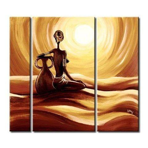 African Woman Painting, Bedroom Wall Art, Large Wall Art, 3 Piece Wall Art - Art Painting Canvas