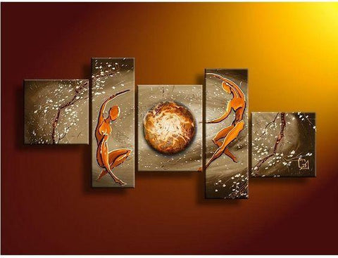 Abstract Art of Love, Bedroom Room Wall Art, 5 Piece Canvas Painting, Love Abstract Painting, - Art Painting Canvas