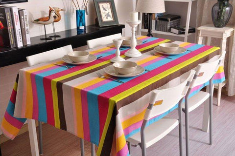 Sailcloth Rainbow Stripe Tablecloth, Table Cloth, Wedding Dining Kitchen Table Cover