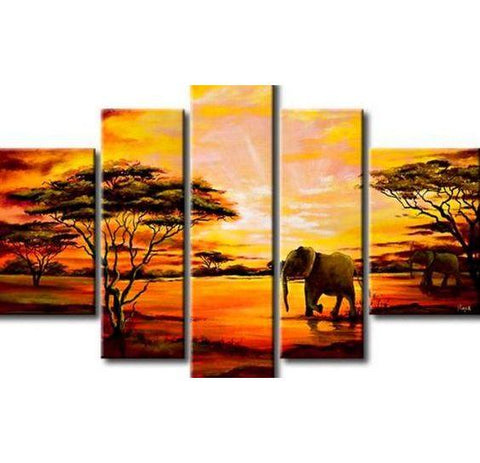 Extra Large Wall Art, African Elephant and Tree Painting, Bedroom Canvas Painting, Buy Art Online