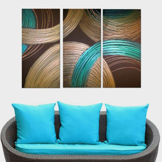 Abstract Painting, Heavy Texture Acrylic Painting, Dining Room Wall Art, 3 Piece Art Painting - Art Painting Canvas