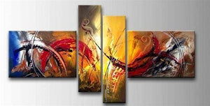 4 Piece Wall Art, Modern Contemporary Painting, Wall Art Paintings for Living Room, Acrylic Painting on Canvas-Grace Painting Crafts