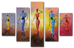 African Dancing Girl Painting, 5 Piece Acrylic Art, Abstract Painting, Extra Large Canvas Painting - Art Painting Canvas