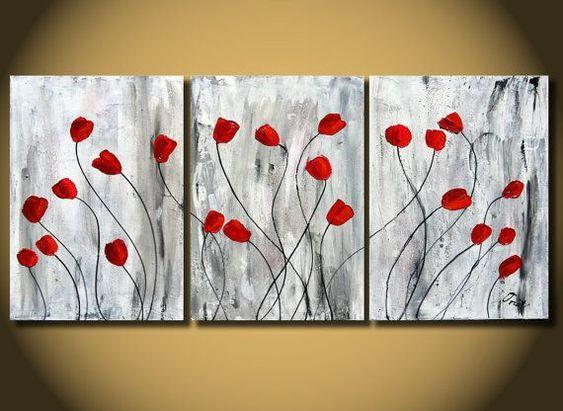 Red Poppy Flower Paintings, Acrylic Flower Painting, 3 Piece Painting, Modern Wall Art Painting-Grace Painting Crafts